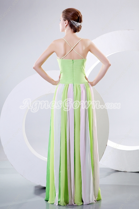 Spaghetti Straps Colorful Rainbow Maxi Evening Dress