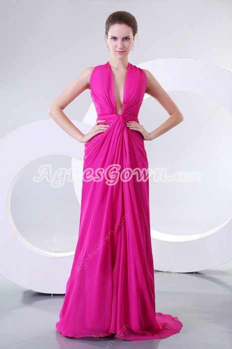 Sexy Crossed Straps Back Fuchsia Prom Party Dress