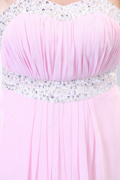 Dipped Neckline Column Pink Prom Dress