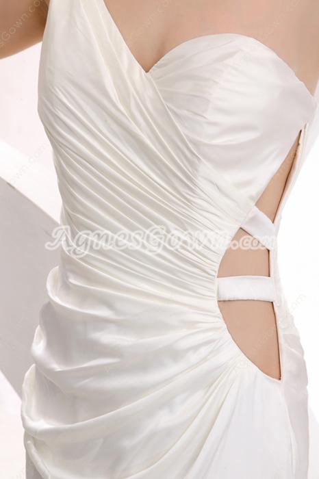 Chic One Shoulder Mini Length White Nightclub Dress