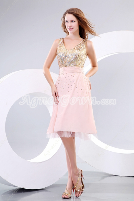 Modern Gold & Champagne Wedding Guest Dress