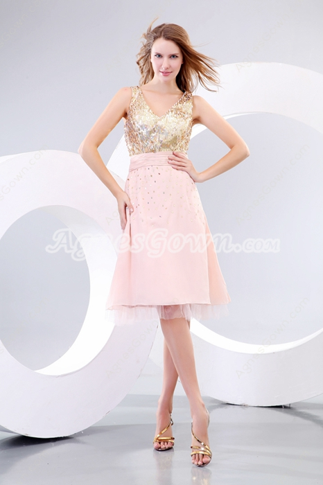Modern Gold & Champagne Wedding Guest Dress