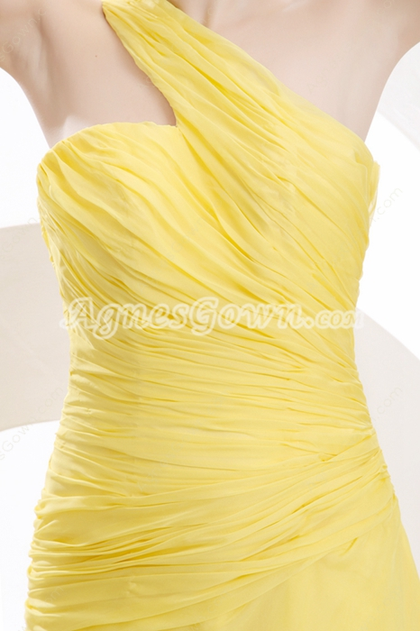 One Straps A-line Full Length Yellow Graduation Dress For College