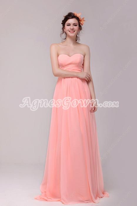 Cute Sweetheart Empire Chiffon Coral Plus Size Graduation Dress