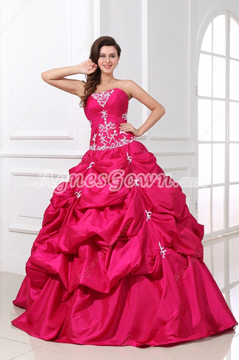 Classy Strapless Ball Gown Fuchsia Taffeta Quinceanera Dress