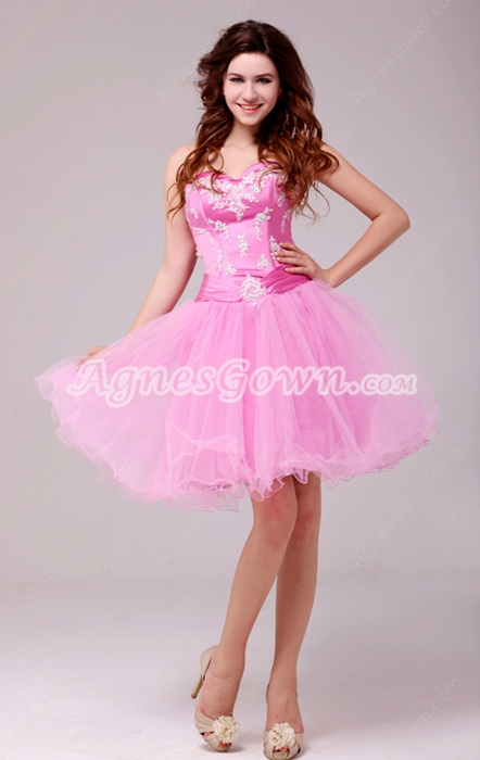 Lovely Puffy Mini Length Pink Sweet Sixteen Dress With Lace Appliques