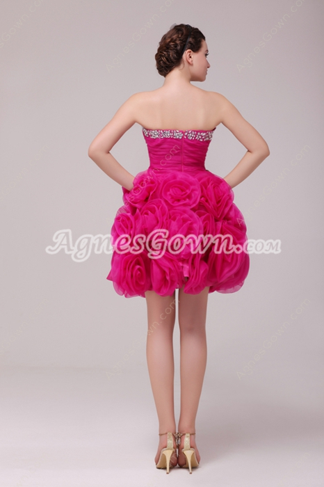 Lovely Sweetheart Ball Gown Fuchsia Organza Sweet Sixteen Dress
