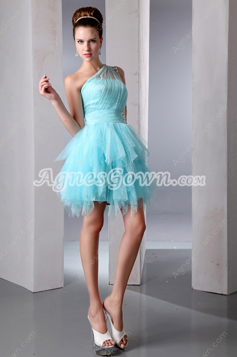 Sassy One Shoulder Blue Puffy Sweet 16 Dress With Diamonds