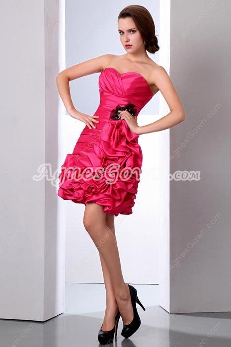 Sweetheart Mini Length Hot Pink Damas Dress