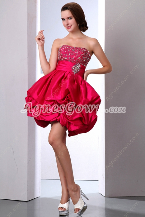 Cute Puffy Mini Length Hot Pink Taffeta Sweet Sixteen Dress
