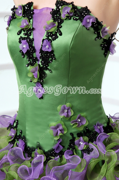 Perfect Strapless Ball Gown Colorful Green & Purple Quinceanera Dress