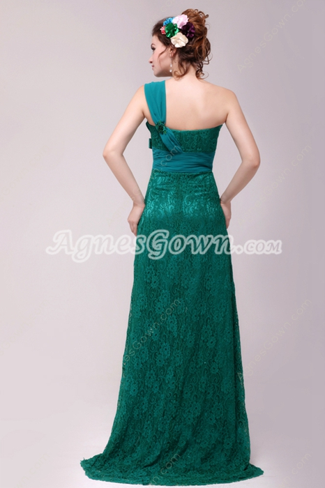 Affordable One Straps Hunter Green Lace Formal Evening Dress