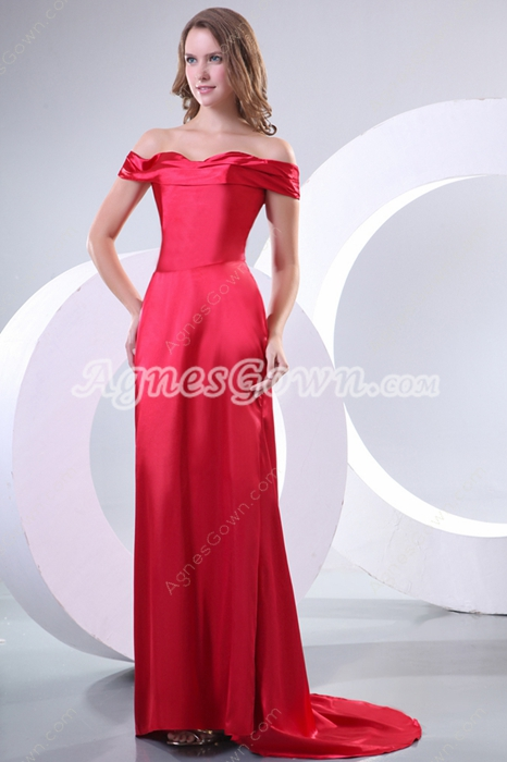 Charming Off The Shoulder Red Mother Of The Bride Dress