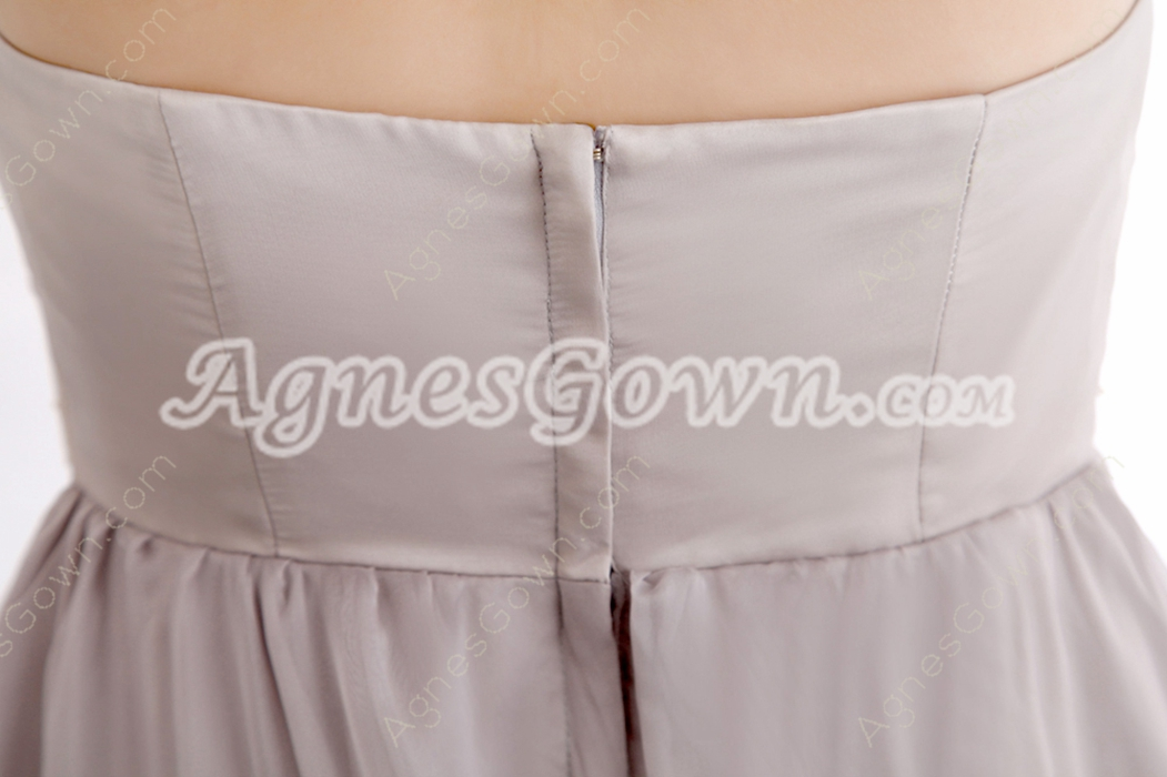 Graceful Strapless A-line Gray Chiffon Pageant Prom Dress