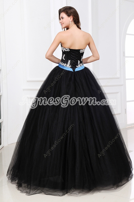 Gothic Black Ball Gown Quinceanera Dress With Blue Sash