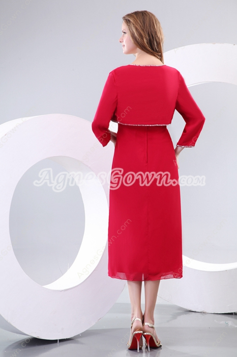 Glamour Tea Length Red Mother Of The Groom Dress