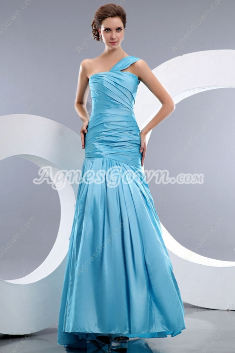 Graceful One Straps Dropped Waist Blue Prom Dress