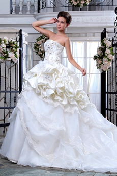 Beautiful Organza & Taffeta Ball Gown Cream Bridal Dress