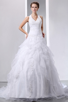 Perfect Organza Halter Ball Gown Bridal