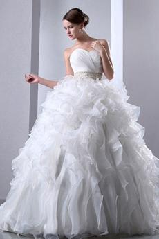 Traditional Ball Gown Multi Ruffled Organza Wedding Dress