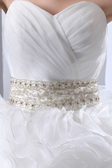 Traditional Ball Gown Multi Ruffled Organza Wedding Dress