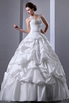 Exclusive V-Neckline Ball Gown Taffeta Wedding Dress Corset Back