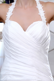 Halter Taffeta A-line Wedding Dress Pleated Bodice