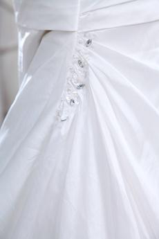 Halter Taffeta A-line Wedding Dress Pleated Bodice