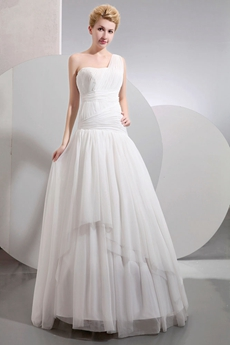Asymmetrical Waist One Shoulder Beach Wedding Gown