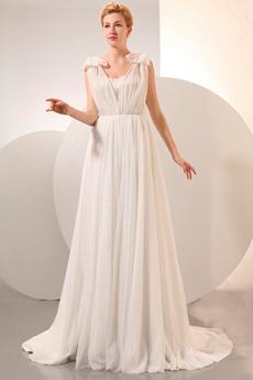Ivory Chiffon Wedding Dress For Pregnancy Brides