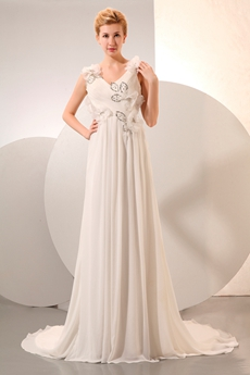 Casual V-Neckline Ivory Destination Wedding Dress