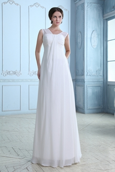 Straight Full Length White Chiffon Casual Beach Wedding Dress