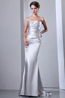 Elegance Simple Satin Wedding Dress With Beads