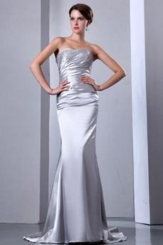 Elegance Simple Satin Wedding Dress With Beads