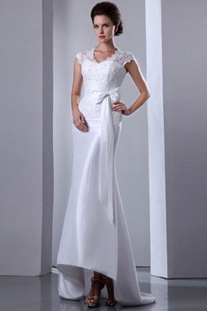 Cap Sleeves Queen Ann Neckline Beach Wedding Dress With Lace