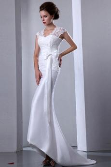 Cap Sleeves Queen Ann Neckline Beach Wedding Dress With Lace