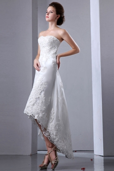 Dipped Neckline High Low Beach Wedding Dress With Lace Appliques