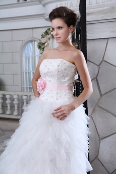 Colorful White & Pink Heavy Layered Wedding Dress With Pearls