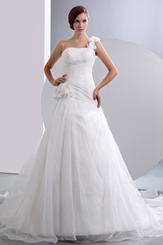 Simple One Straps A-line Organza Wedding Dress With Handmade Flowers
