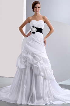 Beautiful A-line White Taffeta Wedding Dress With Black Belt