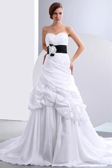 Beautiful A-line White Taffeta Wedding Dress With Black Belt