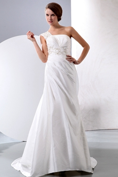 One Shoulder Simple Satin Wedding Dress With Embroidery