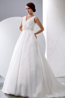 Simple Elegance Organza Wedding Dress With Buttons