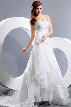 A-line Organza Pleated Wedding Dress Dropped Waist
