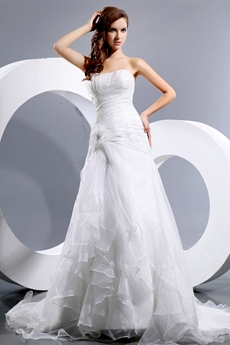 A-line Organza Pleated Wedding Dress Dropped Waist