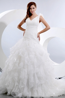 Beautiful Asymmetrical Waist Multi Layered Wedding Dress
