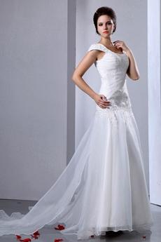 Inexpensive Organza Princess Wedding Dress Dropped Waist