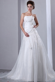Affordable Asymmetrical Waist Princess Wedding Dress