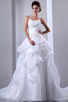 Beautiful Organza Princess Wedding Dress With Lace Appliques