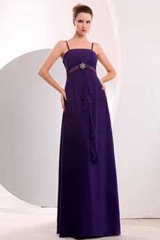 Charming Spaghetti Straps Violet Chiffon Bridesmaid Dress